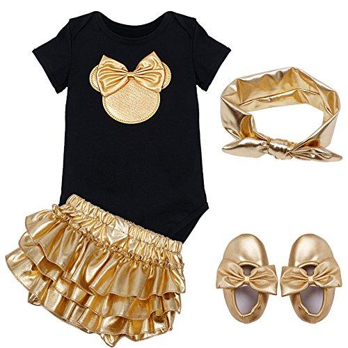 [YiZYiF Baby Girls' Cute 4 Pieces Romper with Ruffle Skirt Headband Set Shiny Bowknot Headband 12] (Bum Shorts Costume)