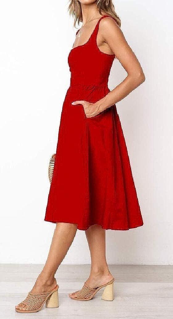 DressU Womens Retro Below The Knee Pure Sling Bust Hollow Maxi Bodycon Dress