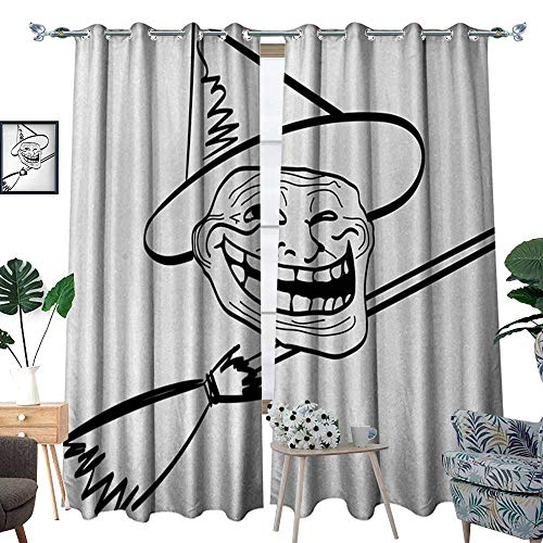 RenteriaDecor Humor Thermal Insulating Blackout Curtain Halloween Spirit Themed Witch Guy Meme LOL Joy Spooky Avatar Artful Image Print Patterned Drape for Glass Door W120 x L84 Black and White]()