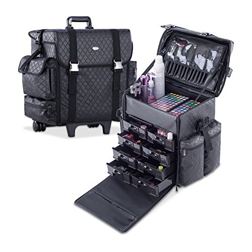 (MUA LIMITED Professional Beauty Trolley Makeup Artist Case, Soft Cosmetic Case with Trolley and Storage Drawers, Side Compartments and Brush Holders, ULTIMATE Series - Black Diamond)