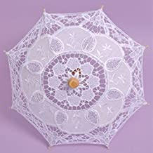 Kicode Lace Umbrella Wedding Cloth Art Floral Bridal Summer Parasol Vintage Cotton Bamboo Bridesmaid