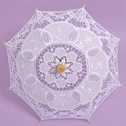 kicode encaje paraguas sombrilla de verano para cloth arte Floral de novia vintage algodón bambú de