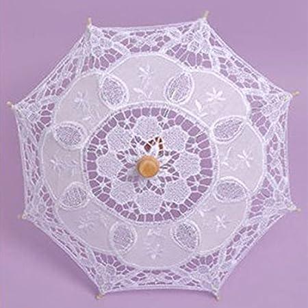 kicode encaje paraguas sombrilla de verano para cloth arte Floral de novia vintage algodón bambú de dama, Blanco, Small: Amazon.es: Hogar