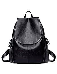 Leather Backpack for Women IBFUN Water Resistant Casual Backpack School Bag Travel Bag Black