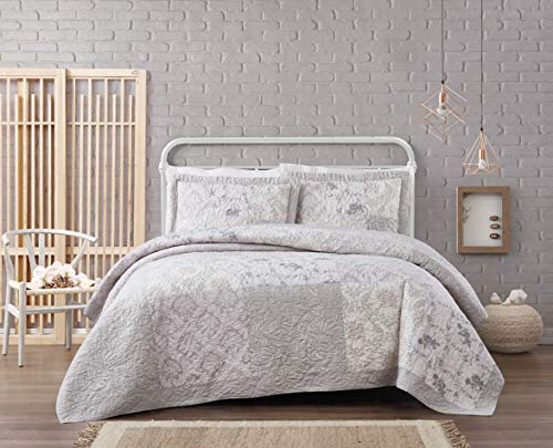 Cottage Classics Brigette Floral Cotton Quilt Set, Full/Queen, Grey
