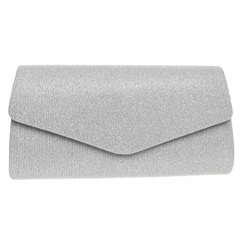 FASHIONROAD Evening Clutch, Womens Bling Envelope Clutch Purse For Wedding and Party (Silver Satin Evening Bag)