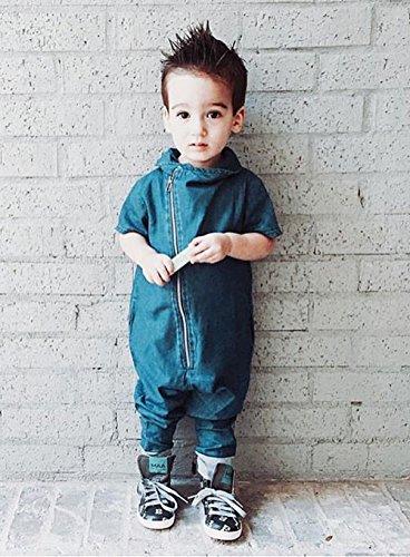 Baby Girl Boy Denim Romper Coverall Long Pant Bodysuit (12-24M)