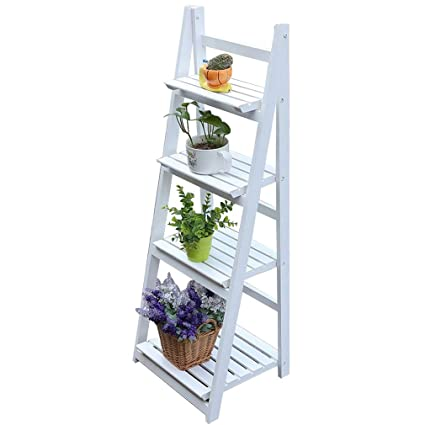 separation shoes 2b706 a2dcc 4 Tier Flower Stand, Wooden Flower Shelf Ladder, Garden Home Balcony  Outdoor Display (White)