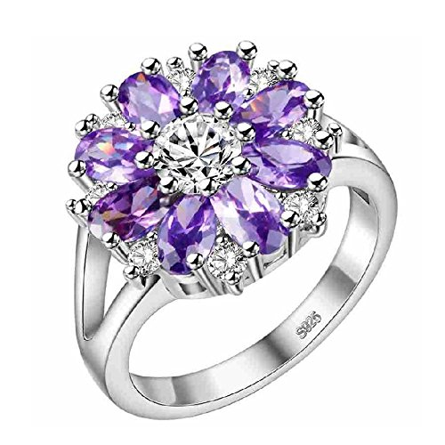 (Uloveido White Gold Plated Purple Crystal Flower Promise Ring for Girls Women Cubic Zirconia Anniversary Ring Size 9 J676)