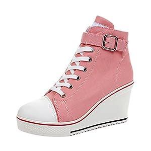 Women's Canvas High-Heeled Platform Wedge Fashion Sneaker Pump Shoes