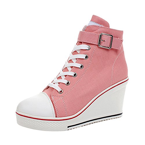 Pink Platforms Wedges Shoes - Women's Canvas High-Heeled Platform Wedge Fashion Sneaker Pump Shoes #5 Pink Label 39 - US 8