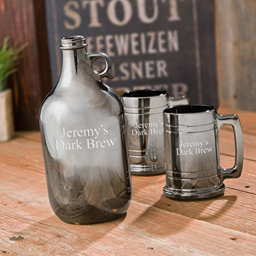 Personalized-Gunmetal-Beer-Growler-Set
