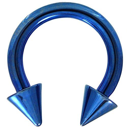 - 10G (2.5mm) Blue Titanium IP Steel Circular Barbells Horseshoe Rings w/Spike Ends (Sold in Pairs)