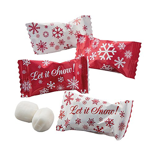 Fun Express - Red Snowflake Buttermints for Winter - Edibles - Mints - Buttermints - Winter - 108 Pieces