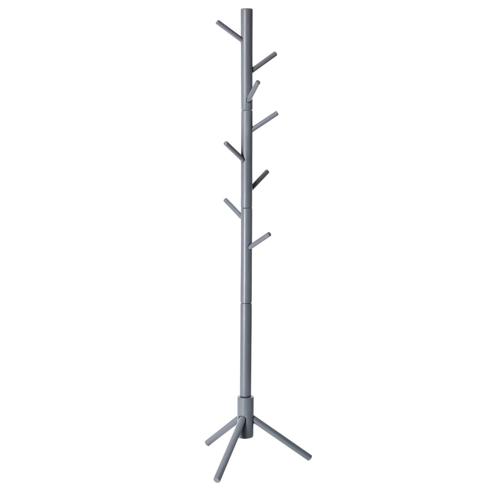 VASAGLE Coat Rack with 8 Hooks, Solid Wood Coat Tree Free Standing, 18.5 Inch Dia Base, for Clothes, Hats, Handbags, Umbrella, Gray URCR04GY by VASAGLE