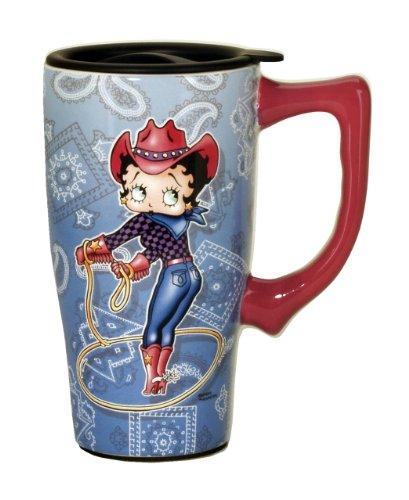Betty Boop Cowgirl Travel Blue Mug