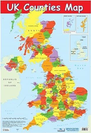 UK Counties Map Educational Poster 40x60cm: Amazon.co.uk: Kitchen ...