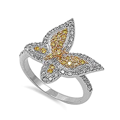 CloseoutWarehouse Butterfly Yellow Cubic Zirconia Ring Sterling Silver 925