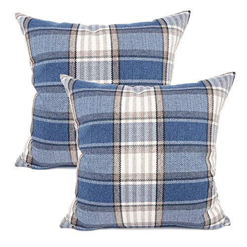 YOUR SMILE Set of 2 Retro Farmhouse Outdoor/Indoor Buffalo Tartan Chequer Stripe Plaid Cotton Linen Decorative Throw Pillow Case Cushion Cover Pillowcase for Sofa Chair,Navy Blue, 22x22 inch (Navy Stripe Outdoor Pillow)