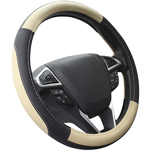SEG Direct Black and Beige Microfiber Leather Auto Car Steering Wheel Cover Universal 15 ()