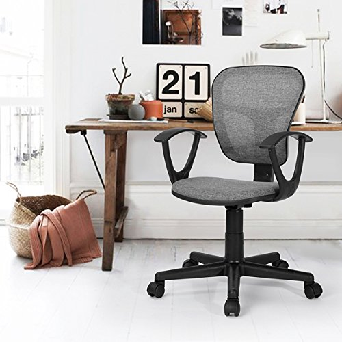 Grey Fabric Office Task Desk Chair Adjustable Mid Back Home Study Chair