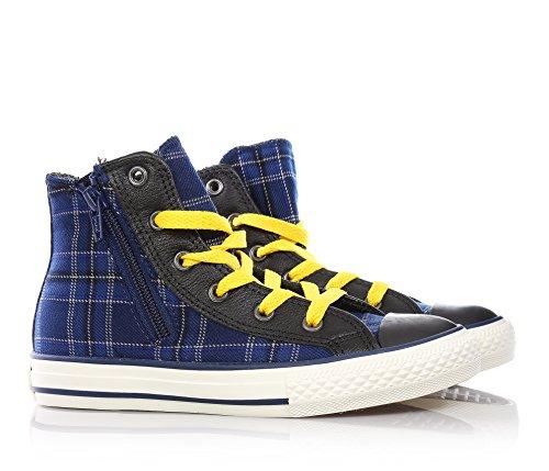 CONVERSE - Sneaker blu stringata, in tessuto, con chiusura a zip laterale, Bambino, ragazzo