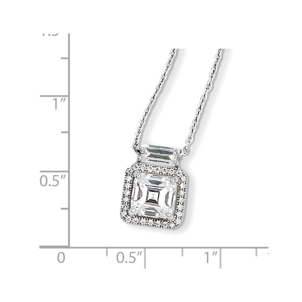 Brilliant Embers Sterling Silver and CZ Charm Pendant with 18 Necklace