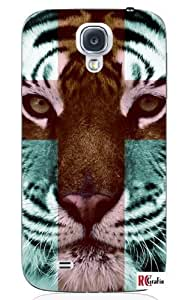 Cool Painting Tiger Hipster Cross Quote Unique Quality Hard Snap On Case for Samsung Galaxy S4 I9500 - White Case