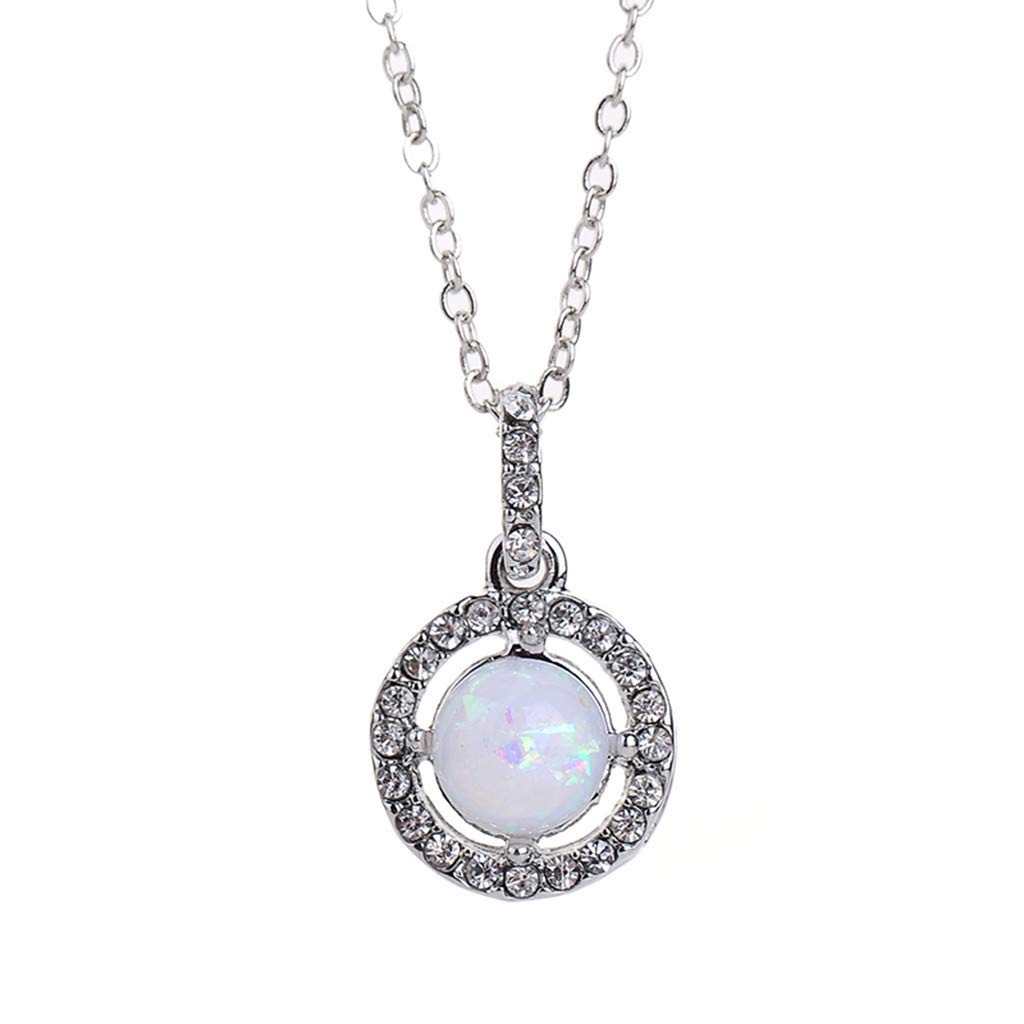 Big Promotion WoCoo Womens Necklace,Fashion Round Gemstone Diamond-set Pendant Long chain Ladies Statement Jewelry(Silver,50CM)