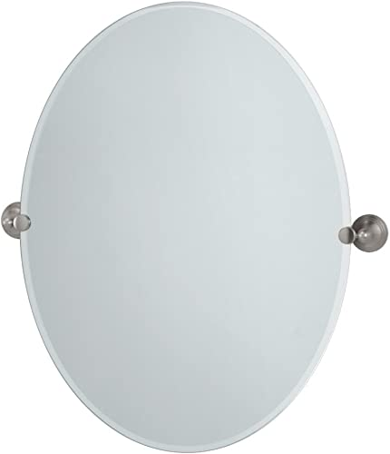 Gatco 4369LG Charlotte Large Oval Wall Mirror, Satin Nickel