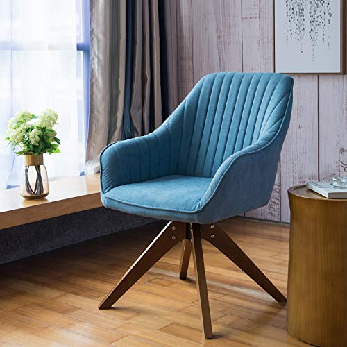 Art Leon Mid-Century Modern Swivel Accent Chair Lily Sky Blue with Wood Legs Armchair for Home Office Study Living Room Vanity Bedroom