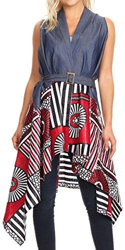 Crinkle Leather Belt - Sakkas 2195 - Kaia Women's Open Front Cardigan Top Asymetrical Ankara African Colorful - 411-burgundy/geometric - OS