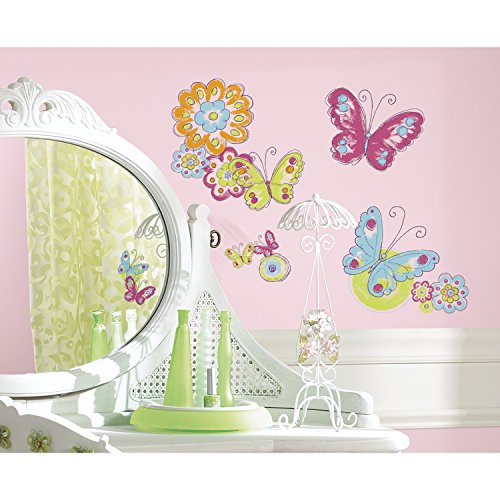RoomMates RMK2325SCS  Brushwork Butterfly Peel and Stick Wall Decals, 26 Count