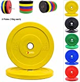 Olympics Bumper Plates 2 Inch Colour Rubber Weight Plates Weight Lifting Bodybuilding Workout...