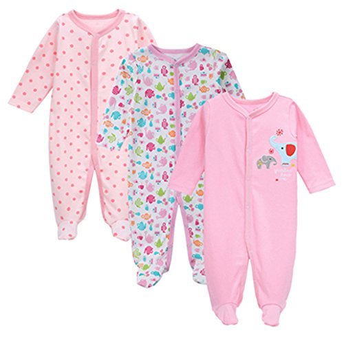 3pcs/Set Baby Girls Footies Newborn Clothes Long Sleeved 100% Cotton ()