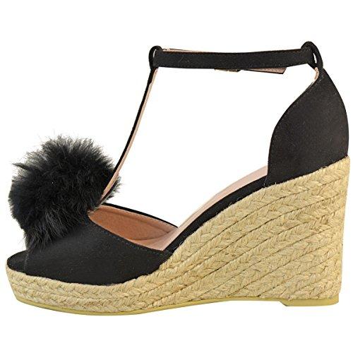 Fashion Thirsty Womens Ladies Mid High Heel Wedge Peeptoe Pom Pom T-Bar Espadrilles Sandals Size Black Faux Suede VU825TWbfe