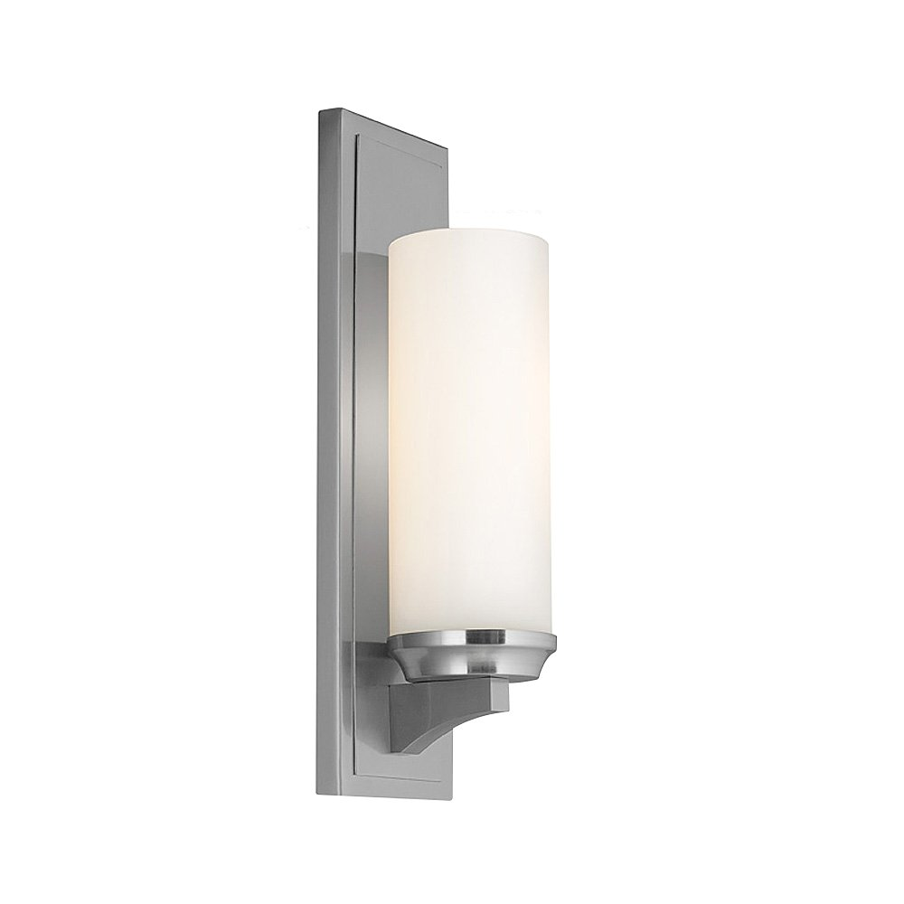 Feiss WB1723BS Amalia Glass Wall Vanity Bath Sconce, 1-Light, 75watts, Brushed Steel (5''W by 16''H)