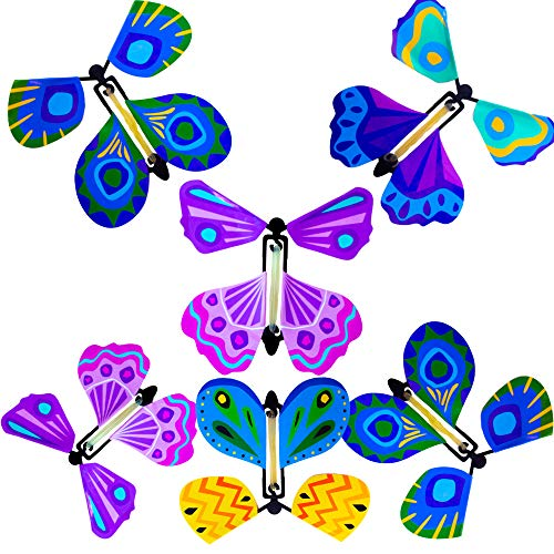 Hanhanho Magic Flying Butterfly Suprise - Multicolored 4.9 Inch Rubber Band Powered Paper Butterflies - Wind Up Toy - for Use in Books and Cards for Pranks & Gags - Surprise Your Family and Friends]()