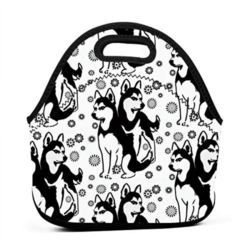 (ONUPMIN Kids Adults Unisex Insulated Bento Pouch Portable Carry Tote Picnic Storage Bag Lunch Box Food Bag Gourmet Handbag Cooler Warm Siberian Husky with Snowflakes Pouch Tote Bag for School Work)