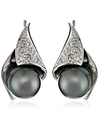 Sterling Silver, Tahitian Cultured Black Pearl, and Diamond Stud Earrings (8-8.5 mm)