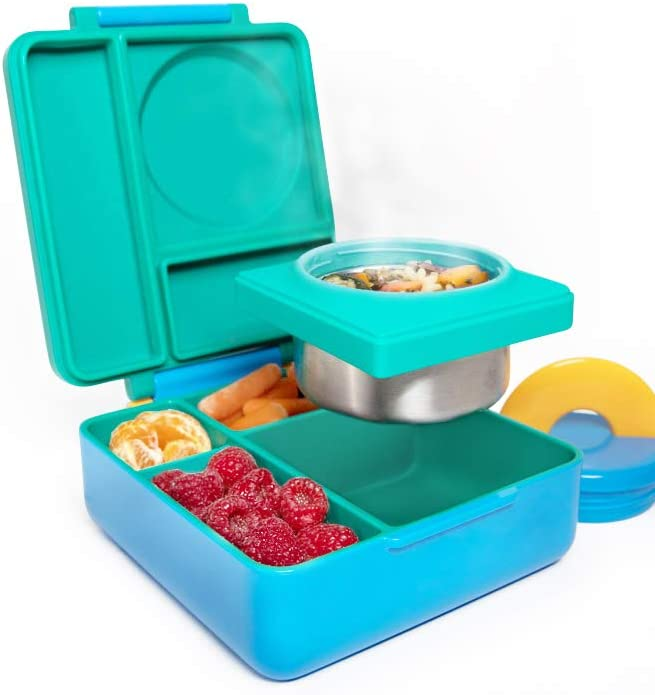 Amazon Com Omiebox Bento Box For Kids Insulated Bento Lunch Box With Leak Proof Thermos Food Jar 3 Compartments Two Temperature Zones Meadow Single Kitchen Dining