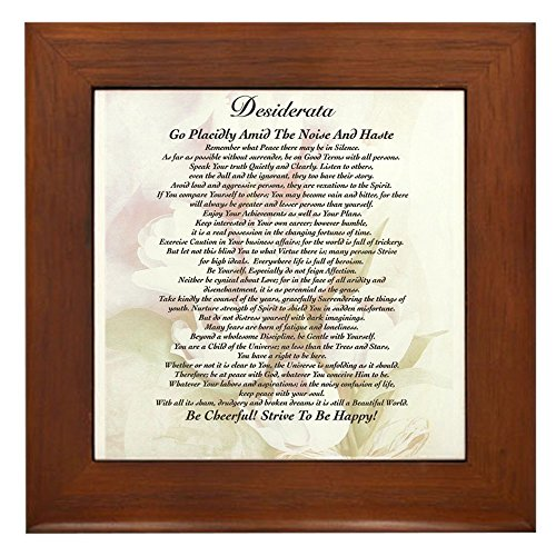 CafePress - Desiderata Poster With Faded Tulips Watercolor Art - Framed Tile, Decorative Tile Wall Hanging -