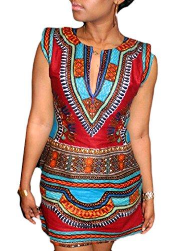 Bodycon Breve Elegante donne A Maniche V Rosso Coolred Dashiki Matita Vestito Scollo 0ErqE6z