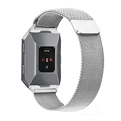 Fitbit Ionic Bands Small Large, bayite Stainless Steel Milanese Loop Metal Replacement Strap with Unique Magnet Lock Accessories for Fitbit Ionic