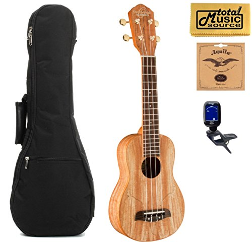 Oscar Schmidt OU18 Soprano Ukulele ,Spalted Maple,W/Padded Gigbag,Tuner,Strings & PC