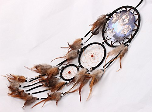 Yansanido Dream Catcher Handmade Traditional Brown Beaded Feathers Approx 6.29 Diameter 29.52 Long Dreamcatcher (MS8040)