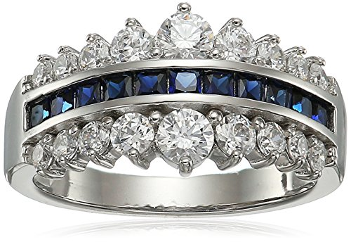 Platinum-Plated Sterling Silver Princess Shaped Created Blue Sapphire and Swarovski Zirconia Pyramid Band Ring, Size 7
