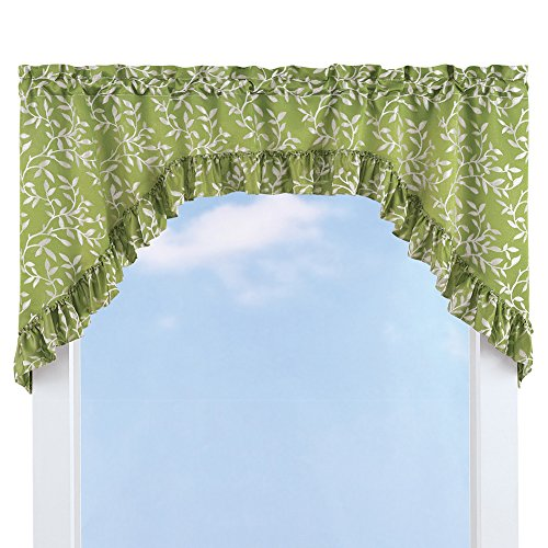 Collections Ruffled Leaf Swag Window Curtain Valance Topper, Sage Green ()