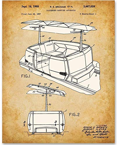 Disney PeopleMover - 11x14 Unframed Patent Print - Makes a Great Gift Under $15 for Disney Fans