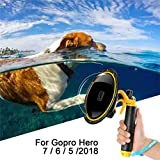 for GoPro Dome Hero Black 7 6 5 2018 - Dome Port Lens Transparent Cover with Floating Handle Grip and Pistol Trigger for Diving - Underwater Waterproof 30M Action Camera Accessory Housing Case